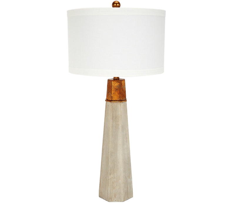 CEMENT FINISHED HEXAGONAL TABLE LAMP W/ GOLD ACCENT & BARREL SHADE