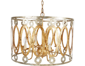 PARKER STAMPED METAL ROUND CHANDLIER WITH GOLD & SILVER FINISH