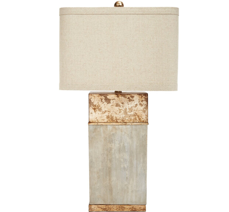 ALAN CEMENT & ANTIQUE GOLD FINISHED SQUARE LAMP WITH LINEN SHADE