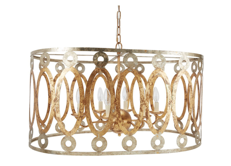 PARKER STAMPED METAL SILVER & GOLD OVAL CHANDELIER
