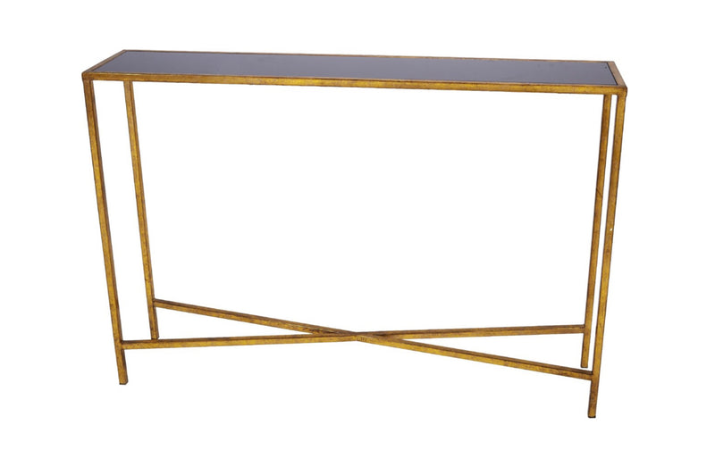 MARCO NARROW CONSOLE TABLE WITH GOLD FINISH & BLACK MARBLE TOP