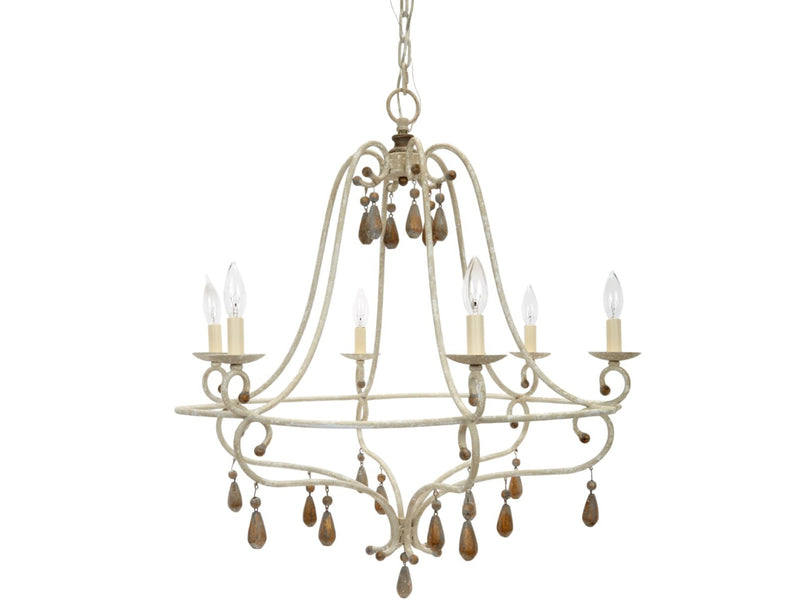 CANBY FRENCH WHITE & GOLD ACCENTED CHANDELIER