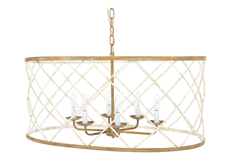 OPEN WEAVE FRENCH WHITE & GOLD OVAL CHANDELIER