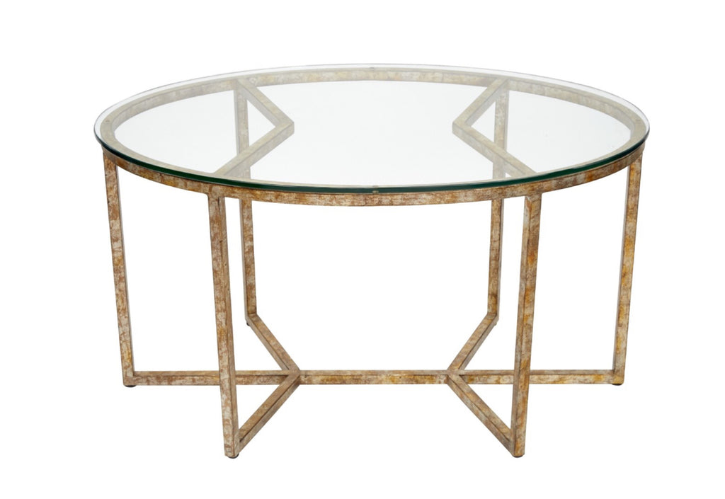 WINSTON CHAMPAGNE GOLD OVAL COFFEE TABLE