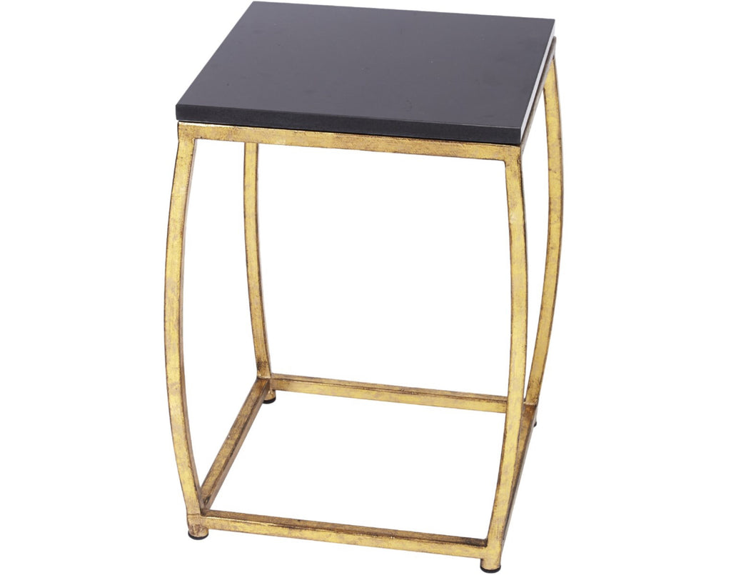 MARCO GOLD METAL ACCENT TABLE WITH BLACK MARBLE TOP
