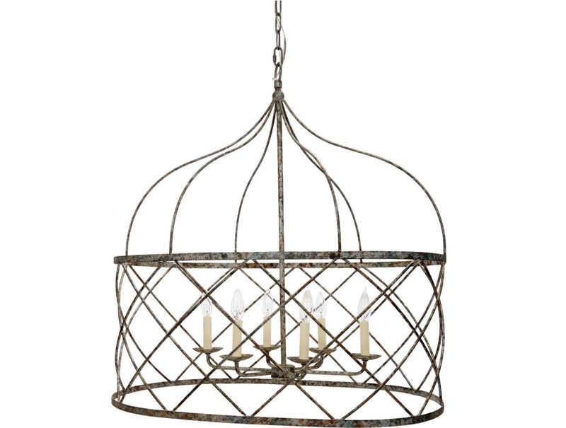 OPEN WEAVE OVAL HOLLEY CHANDELIER WITH HAND RUBBED AGED SILVER FINISH