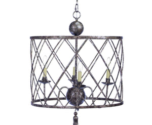 OPEN WEAVE CHANDELIER WITH HAND RUBBED AGED SILVER FINISH