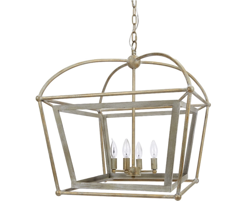 PROVIDENCE METAL LANTERN WITH DISTRESSED SILVER & GOLD FINISH