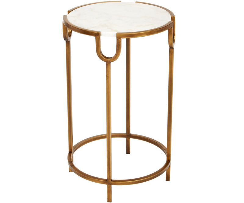 BETH GOLD ACCENT TABLE WITH WHITE MARBLE TOP