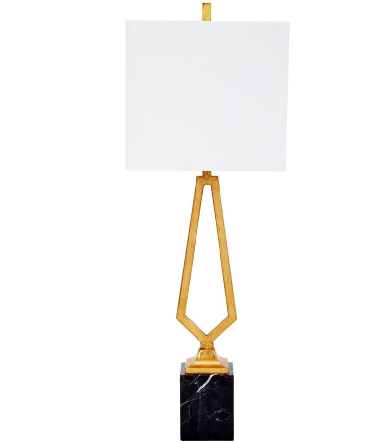 VICTOR GOLD LEAF METAL LAMP WITH BLACK MARBLE BASE & LINEN SHADE