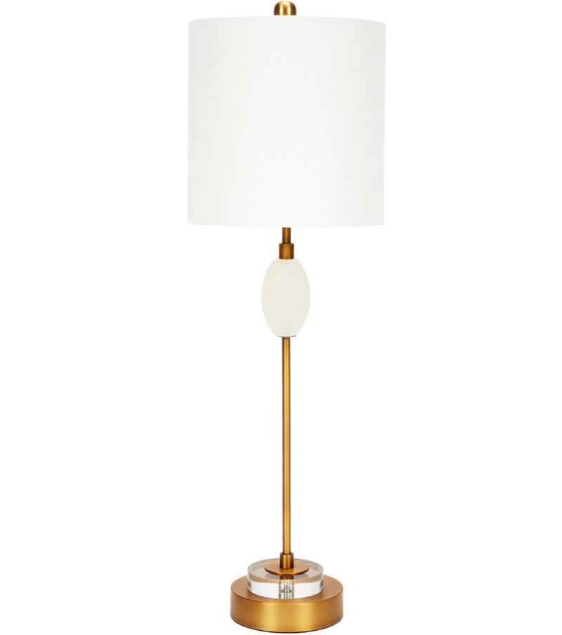 ASHER ALABASTER BUTTEL LAMP WITH CRYSTAL & METAL BASE