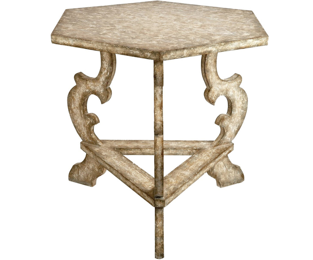 FRENCH WHITE SIX SIDED TABLE