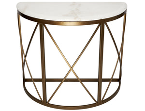 CHELSEA ANTIQUE BRONZE FINISHED ACCENT TABLE WITH WHITE MARBLE TOP