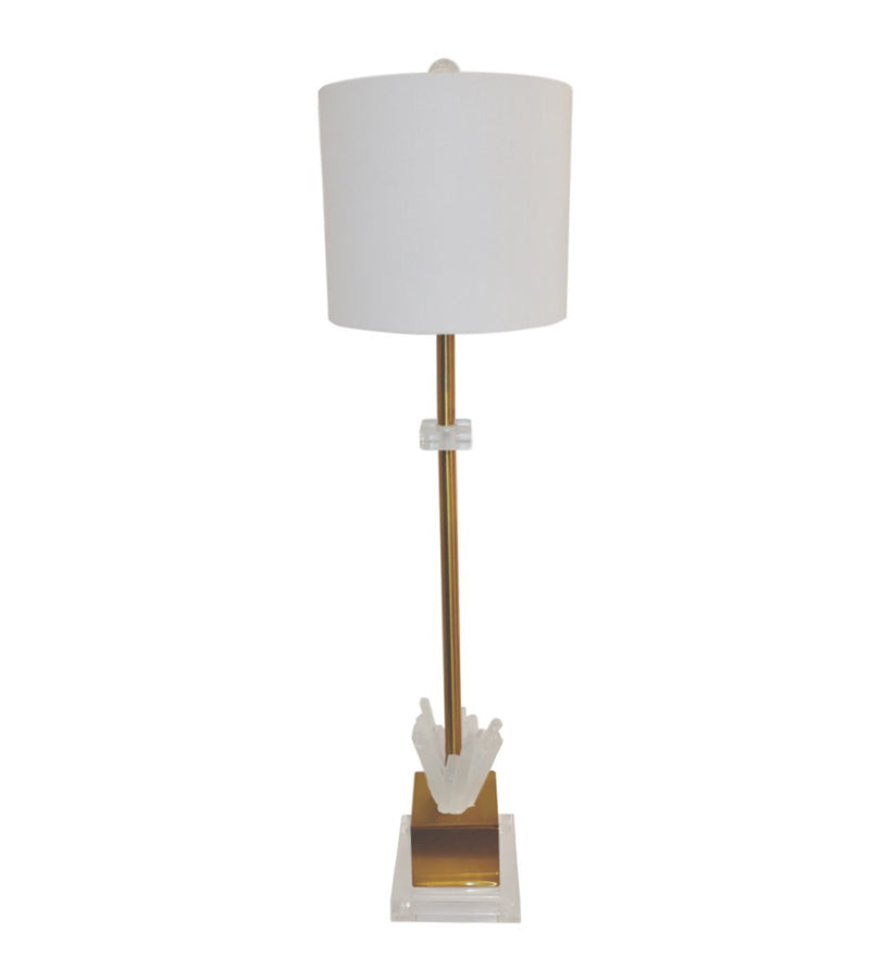 PETITE WINDSOR SELANITE TABLE LAMP WITH ACRYLIC BASE