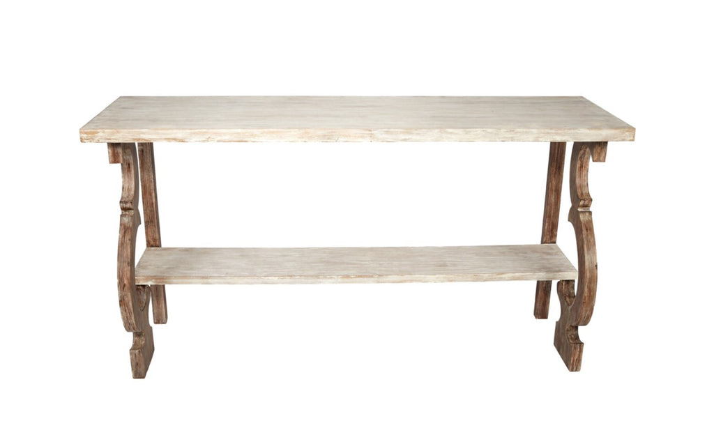 GRAYSON FRENCH WHITE & ANTIQUE BROWN WOOD CONSOLE TABLE