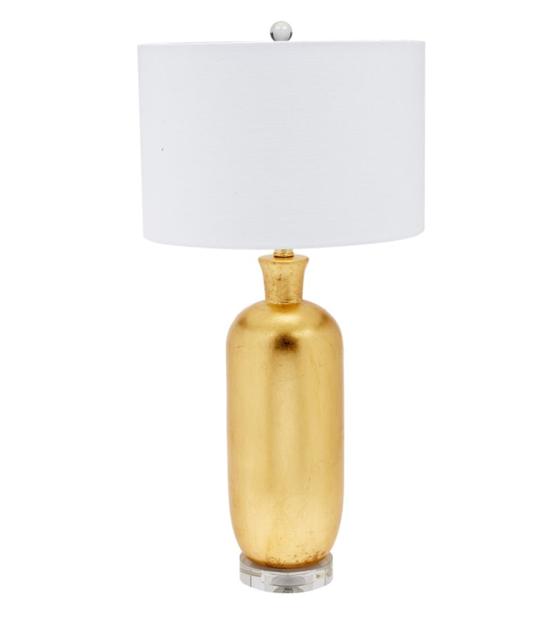GOLD LEAF CARLISLE TABLE LAMP WITH CRYSTAL BASE AND WHITE LINEN SHADE