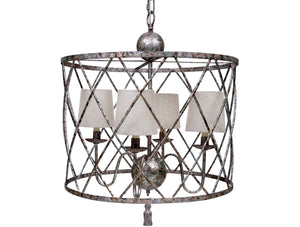 OPEN WEAVE CHANDELIER WITH HAND RUBBED AGED SILVER FINISH WITH SHADES