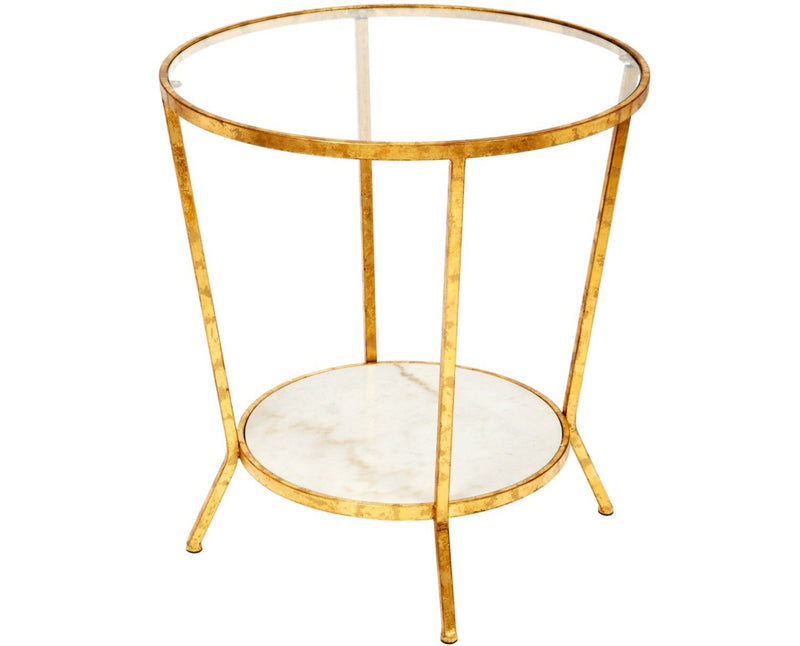 PHILLIPS WHITE MARBLE AND GOLD SIDE TABLE
