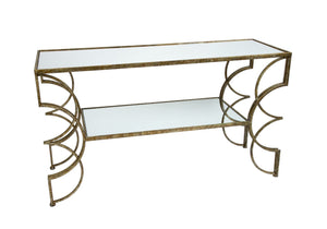 CINDI MIRRORED CONSOLE TABLE WITH CHAMPAGNE GOLD FINISH
