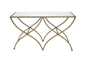 VANESSA MIRRORED CONSOLE TABLE IN CHAMPAGNE GOLD FINISH