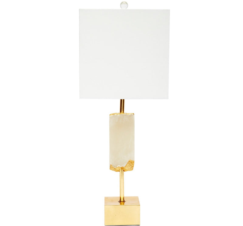 GRAYSON ALABASTER FRAGMENT LAMP WITH GOLD ACCENTS & WHITE LINEN SHADE