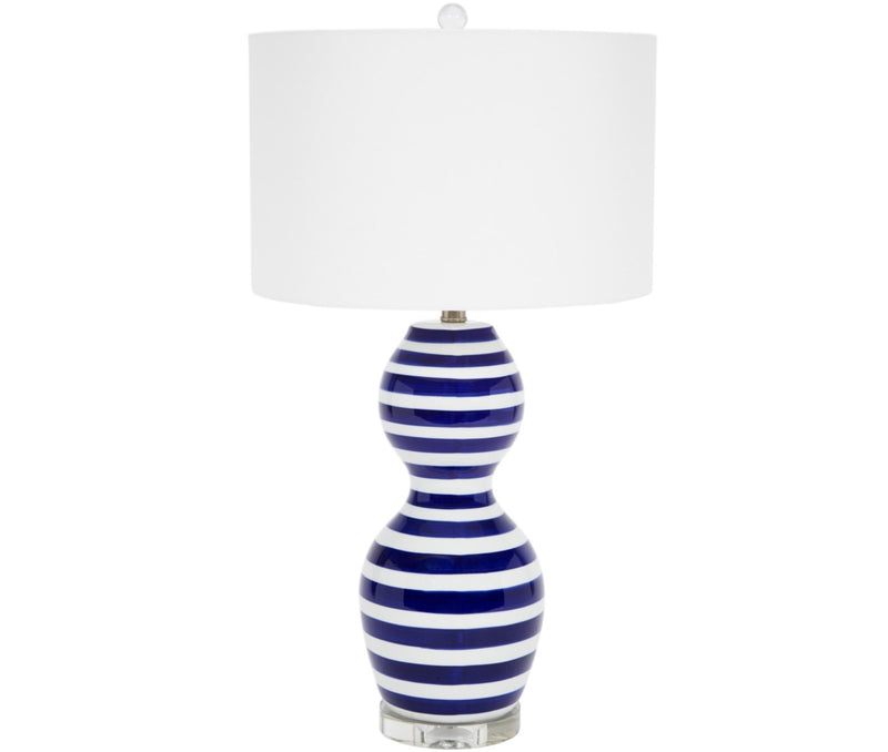 CLAUDETTE BLUE & WHITE STRIPED CERAMIC TABLE LAMP WITH CRYSTAL BASE