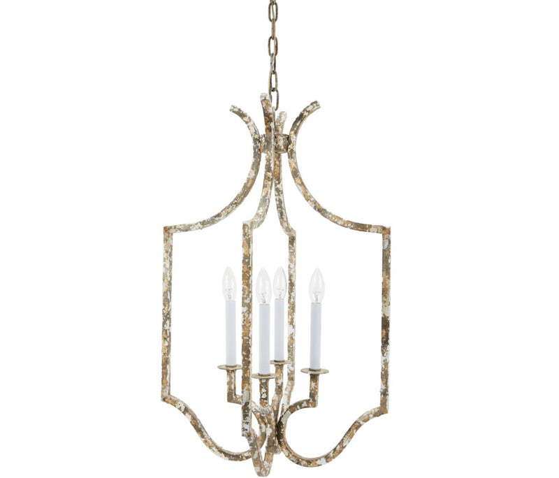 JENNINGS DISTRESSED GREY & GOLD CHANDELIER
