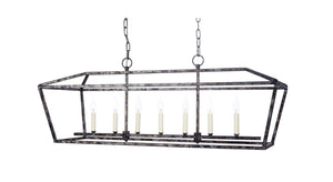 HARMON RECTANGULAR METAL CHANDELIER WITH DISTRESSED SILVER & BLACK FINISH