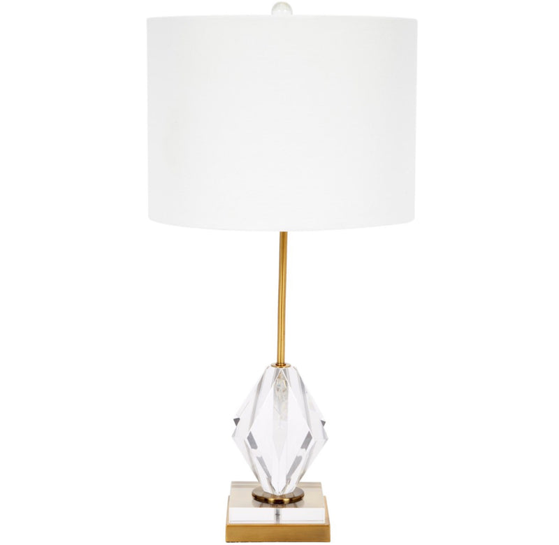 JOSEPHINE CRYSTAL DIAMOND TABLE LAMP WTIH BRASS METAL BASE