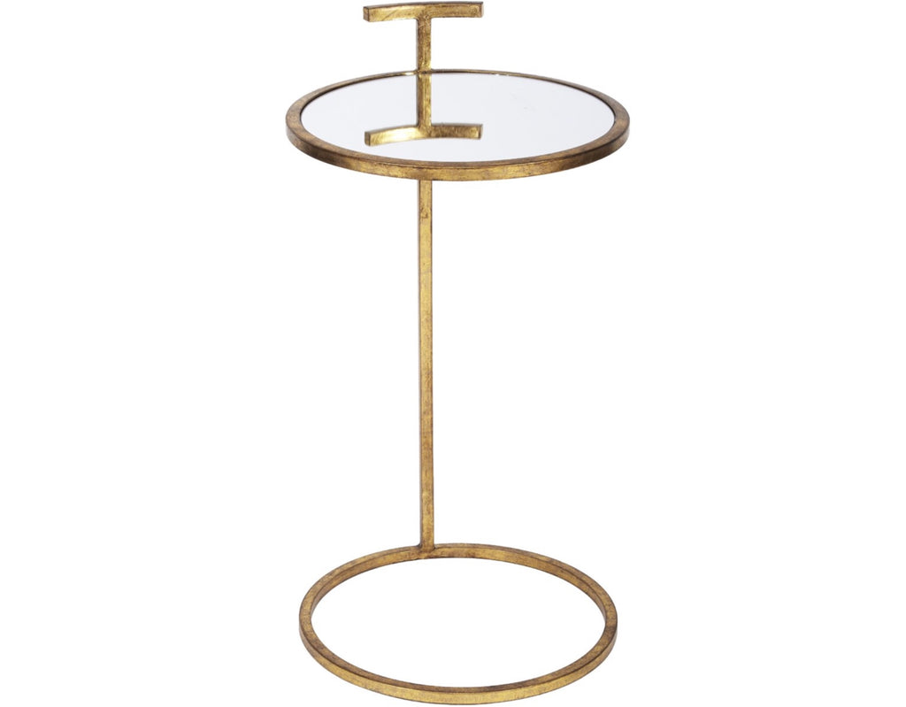 ROUND ANTIQUE GOLD WESTERLY MARTINI TABLE