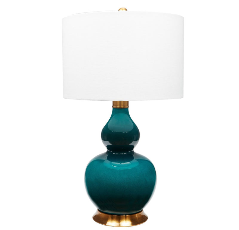 PORCELAIN EMERALD GREEN LAMP WITH ANTIQUE BRASS BASE