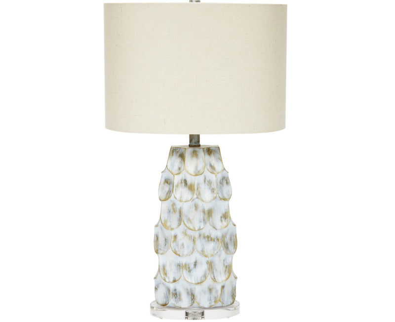 ALEXIS GOLD & GREY WASHED TABLE LAMP WITH LINEN SHADE