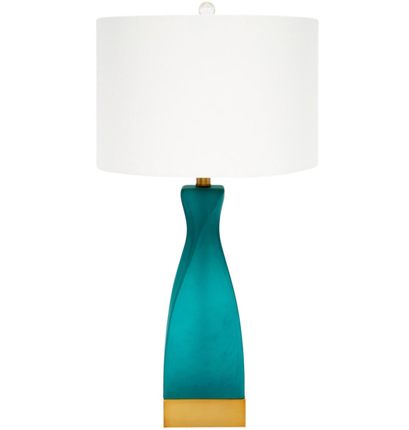 EMERALD GREEN FROSTED GLASS TABLE LAMP WITH WHITE LINEN SHADE