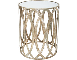 CLAIRE ACCENT TABLE IN SILVER FINISH WITH MIRRORED TOP