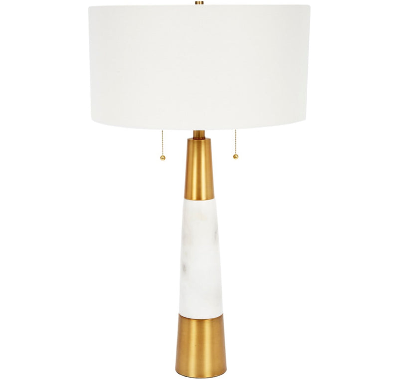 NADINE WHITE MARBLE AND BRASS TABLE LAMP WITH WHITE LINEN SHADE
