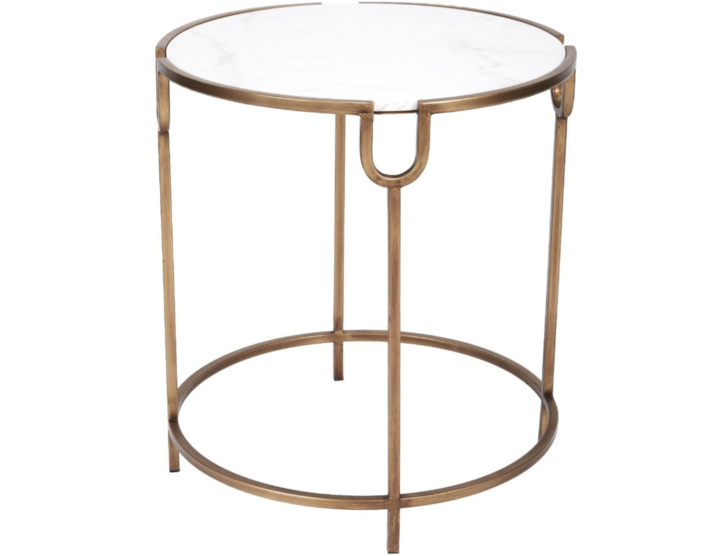 BETHANY GOLD ACCENT TABLE WITH WHITE MARBLE TOP
