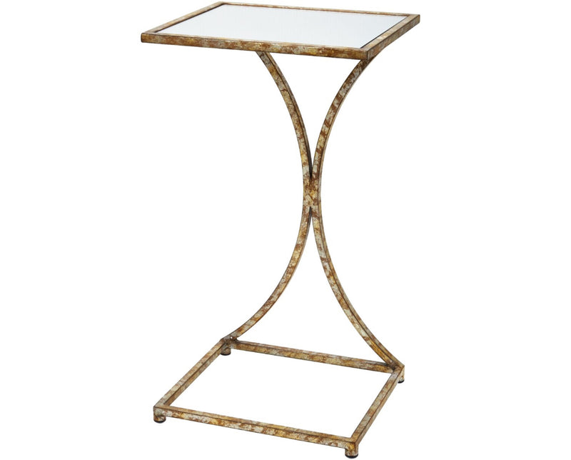KATHRYN CHAMPAGNE GOLD TRAY TABLE WITH MIRRORED TOP