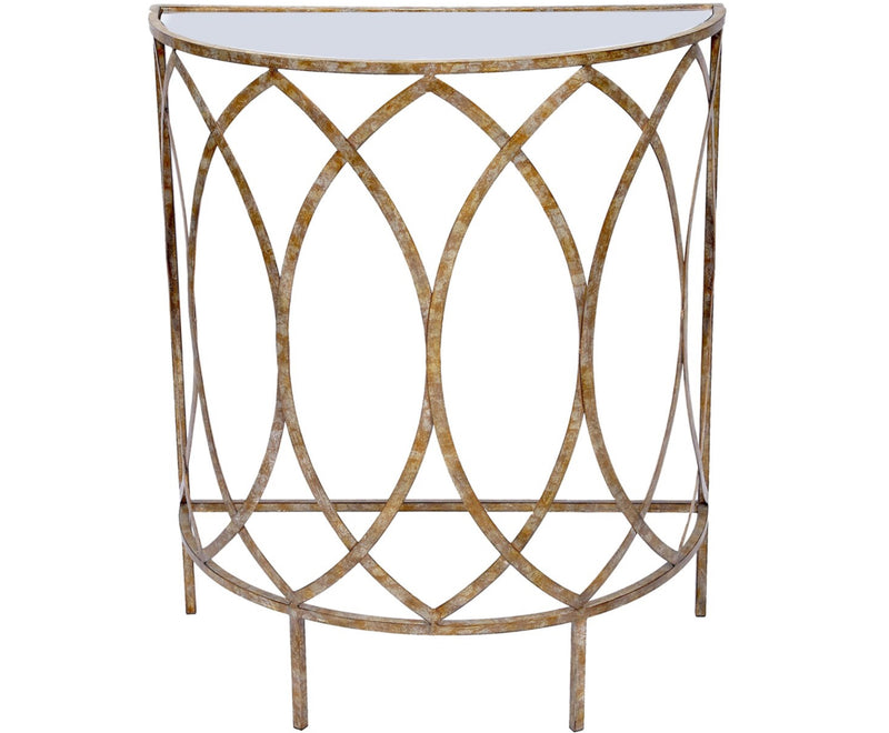 CLAIRE CHAMPAGNE FINISHED FOYER TABLE WITH MIRRORED TOP