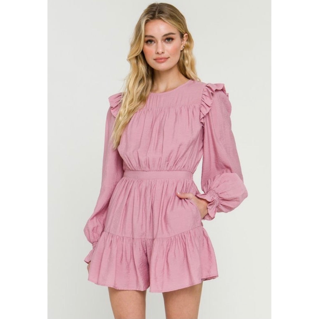 Blush Ruffle Long Sleeve Romper