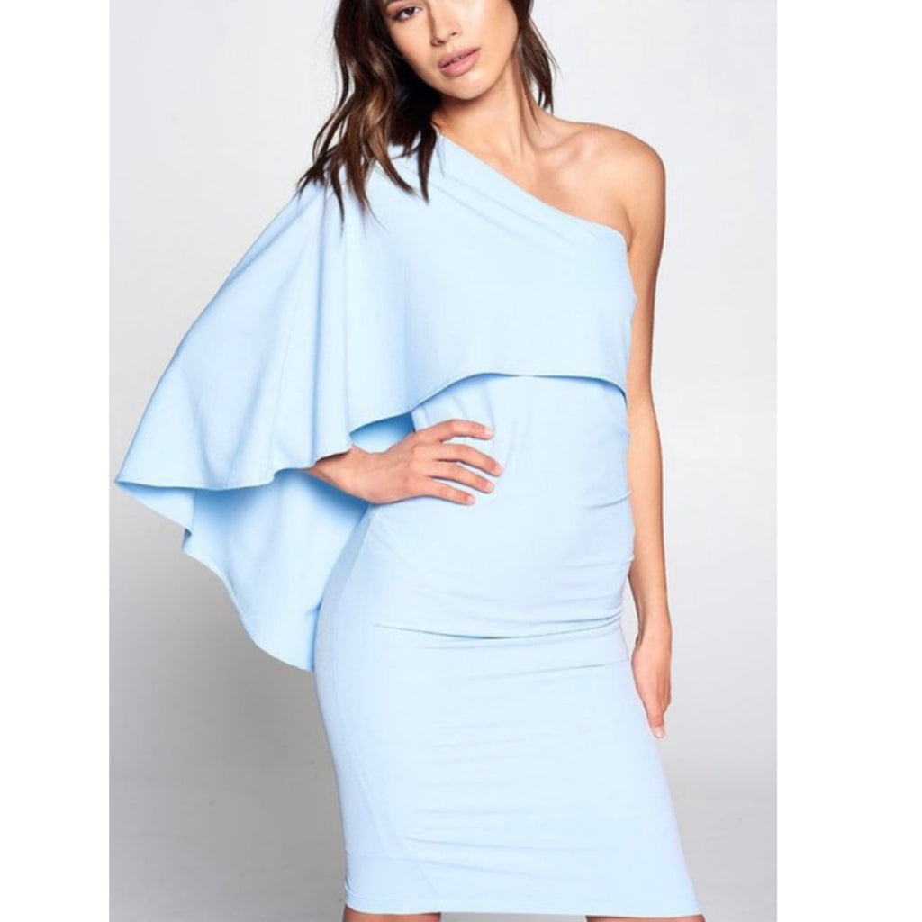 Powder Blue One Shoulder Dress