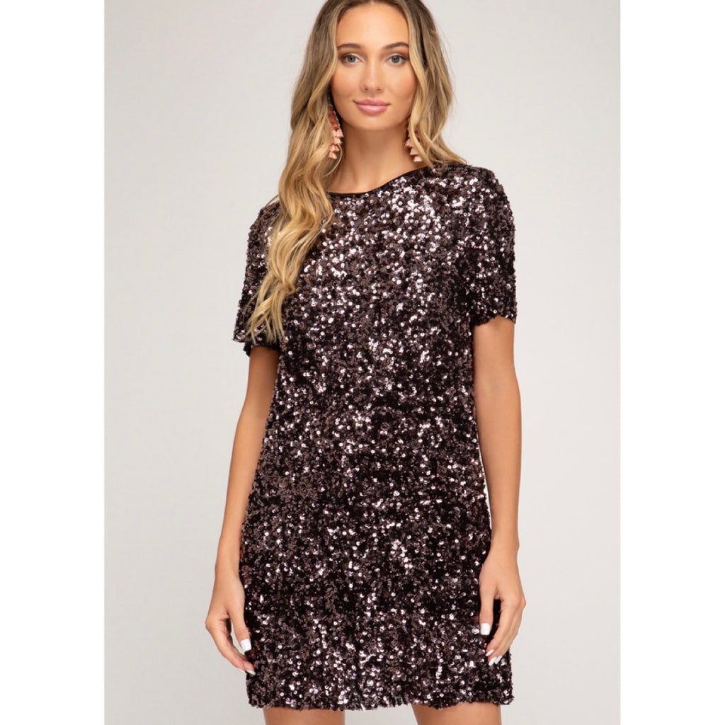 Sequin Mini Dress In Plum
