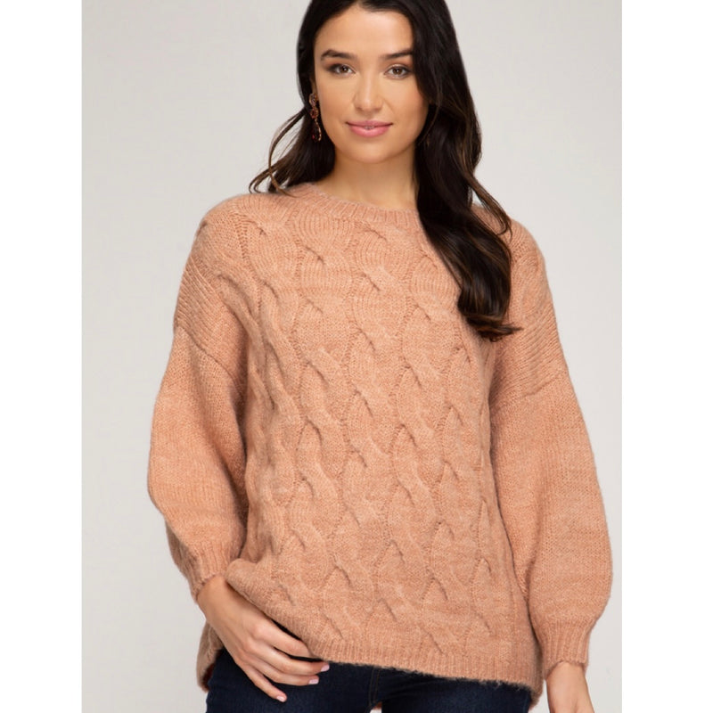Blush Cable Knit Sweater
