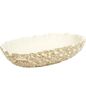 WHITE OVAL SWIRL BOWL WITH GOLD ACCENTS