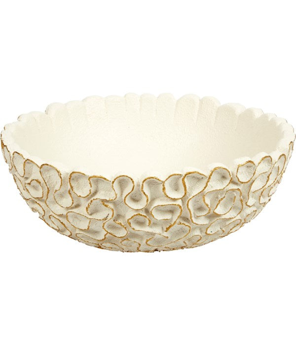 ROUND WHITE SWIRL BOWL WITH GOLD ACCENTS