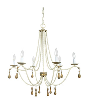 AZUR FRENCH WHITE & AGED GOLD CHANDELIER