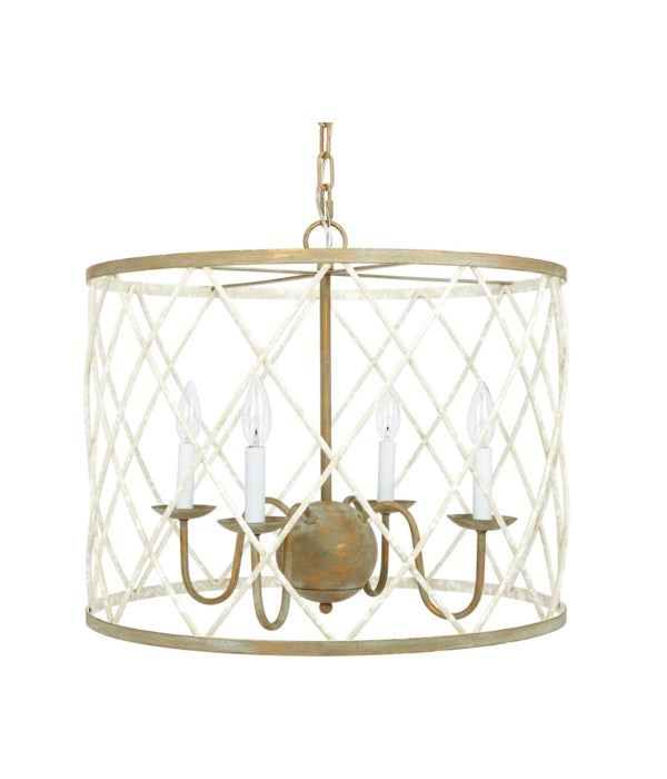 OPEN WEAVE FRENCH WHITE & GOLD ROUND CHANDELIER