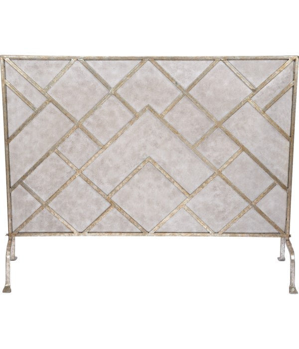 GEOMETRIC FIREPLACE SCREEN IN CHAMPAGNE FINISH