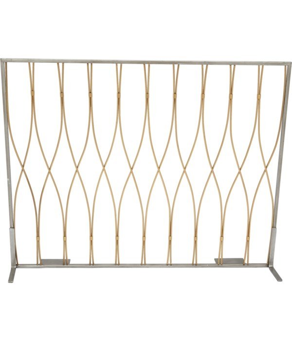 BURSHED GOLD & NICKEL FIREPLACE SCREEN