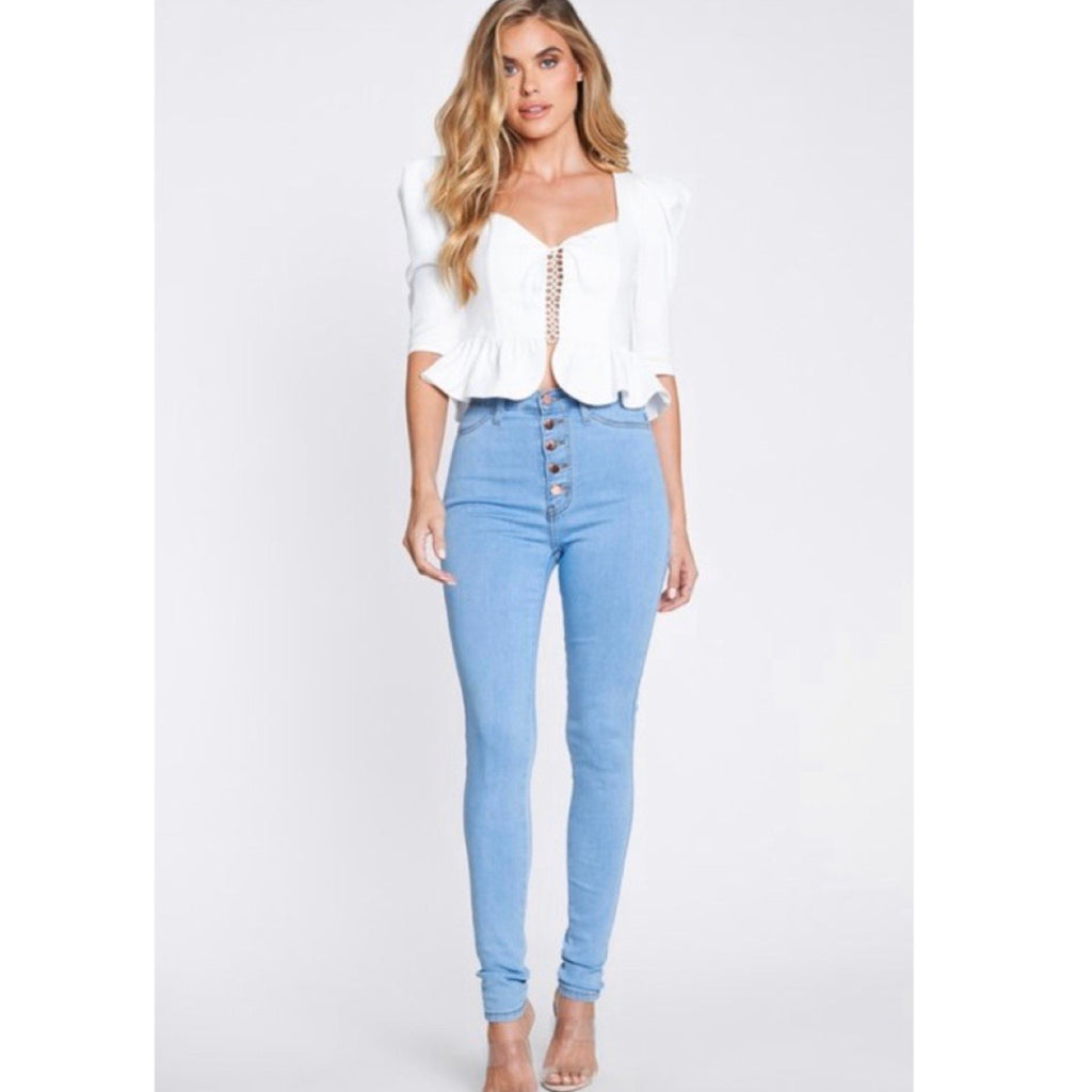 Button down high rise denim