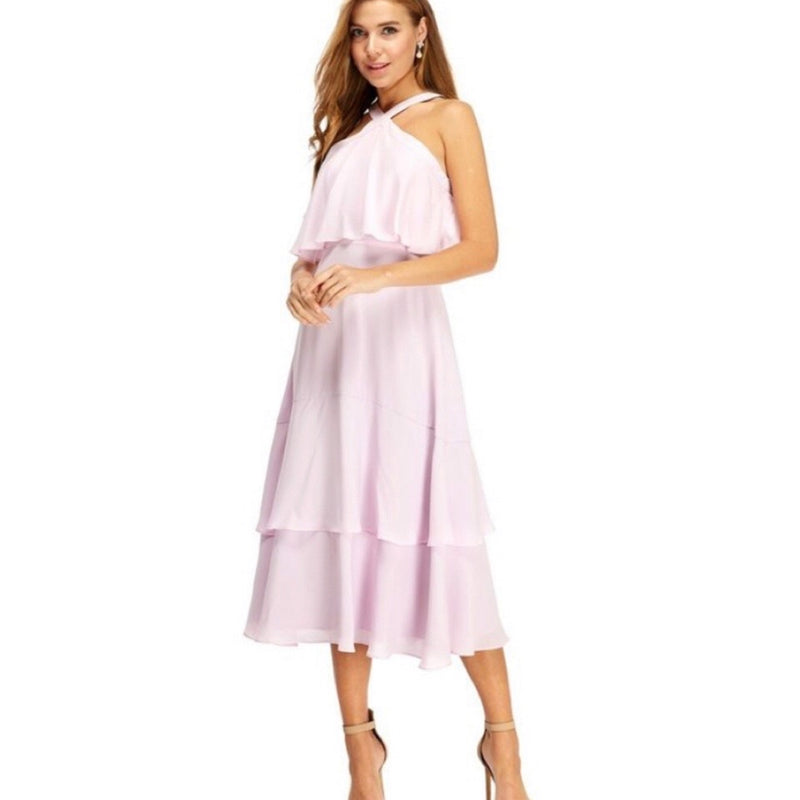 Blush ruffle midi dress